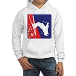 A Snow Skier in Red White and Bl Hooded Sweatshirt
