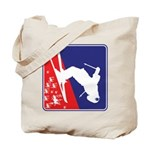 A Snow Skier in Red White and Blue Tote Bag