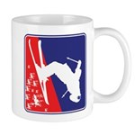 A Snow Skier in Red White and Blue Mug