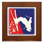 A Snow Skier in Red White and Blue Framed Tile