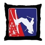 A Snow Skier in Red White and Blue Throw Pillow