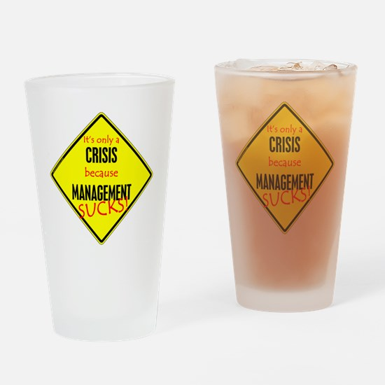 revised warning sign 10x10 Drinking Glass
