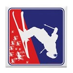 A Snow Skier in Red White and Blue Tile Coaster