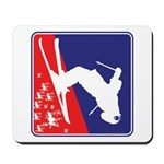 A Snow Skier in Red White and Blue Mousepad