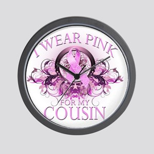 I Wear Pink for my Cousin (floral) Wall Clock