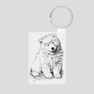 Samoyed Puppy Aluminum Photo Keychain