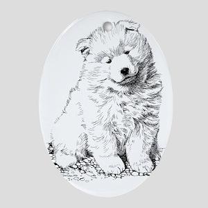 Samoyed Puppy Oval Ornament