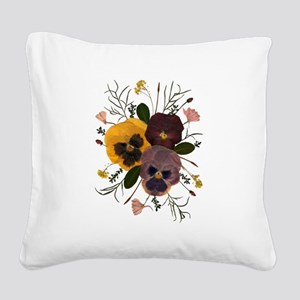 3-pansy_ncard Square Canvas Pillow