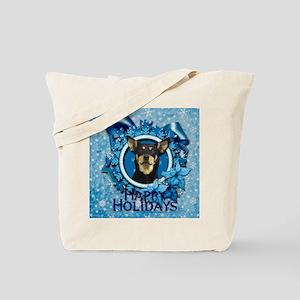 Blue_Snowflake_Australian_Kelpie_Sq Tote Bag