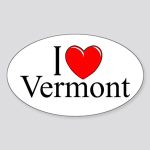 "'I Love Vermont"" Oval Sticker"