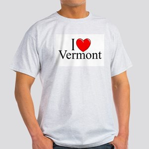 "'I Love Vermont"" Ash Grey T-Shirt"