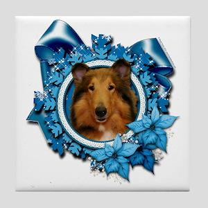 Blue_Snowflake_Collie_Natalie_Sq_Pl Tile Coaster