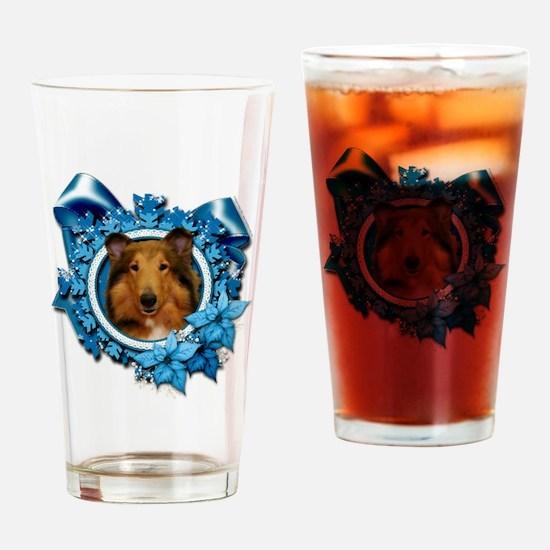 Blue_Snowflake_Collie_Natalie_Sq_Pl Drinking Glass