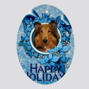 Blue_Snowflake_Collie_Natalie Oval Ornament