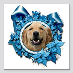 "Blue_Snowflake_Golden_Re Square Car Magnet 3"" x 3"""