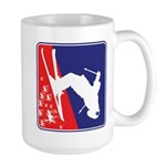 A Snow Skier in Red White and Blue Large Mug