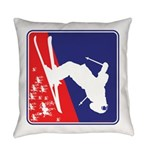 A Snow Skier in Red White and Blue Everyday Pillow
