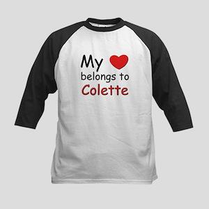 My heart belongs to colette Kids Baseball Jersey