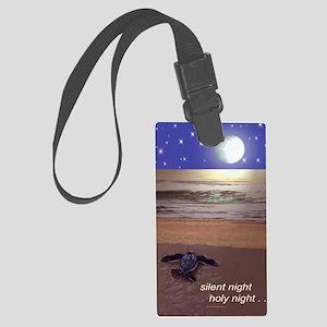 SILENT NIGHT SEA TURTLE CHRISTMA Large Luggage Tag