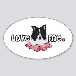 Love Me Border Collie Oval Sticker
