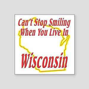 "Wisconsin - Smiling Square Sticker 3"" x 3"""