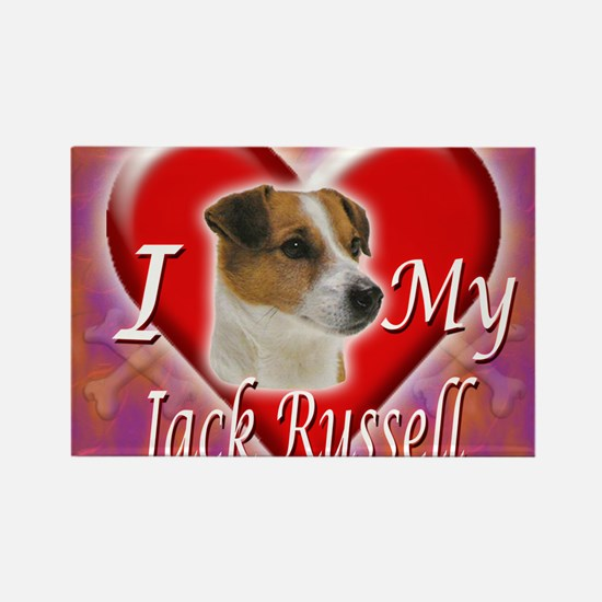 2-I Love My Jack Russell Rectangle Magnet