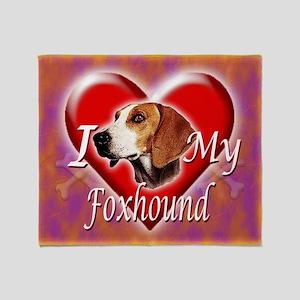 I Love My Foxhound Throw Blanket