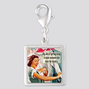 Lucky Laundry Silver Square Charm