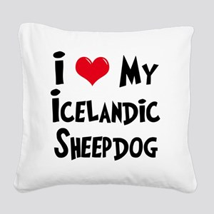 I-Love-My-Icelandic-Sheepdog Square Canvas Pillow