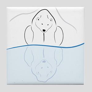Polar Bear Reflection Tile Coaster