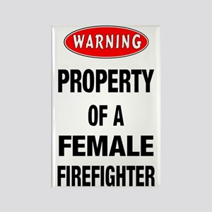 Female Firefighter Property Rectangle Magnet