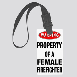 Female Firefighter Property Large Luggage Tag