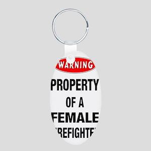Female Firefighter Property Aluminum Oval Keychain
