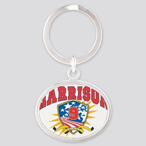 President William H Harrison dark sh Oval Keychain