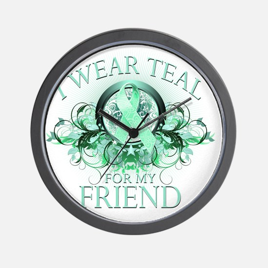I Wear Teal for my Friend (floral) Wall Clock