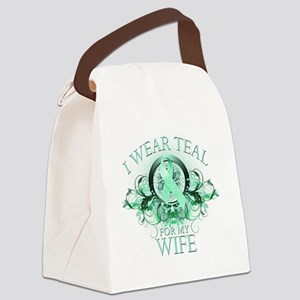 I Wear Teal for my Wife (floral) Canvas Lunch Bag