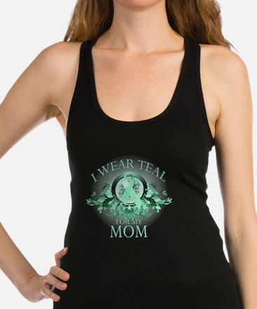 I Wear Teal for my Mom (floral) Racerback Tank Top