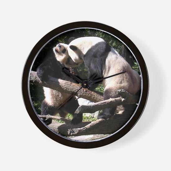 Pandas Wrestling Wall Clock