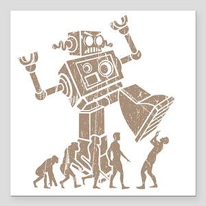 """2-robotV2 Square Car Magnet 3"""" x 3"""""""