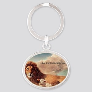 greeting card and little child Oval Keychain