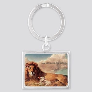 greeting card and little child Landscape Keychain