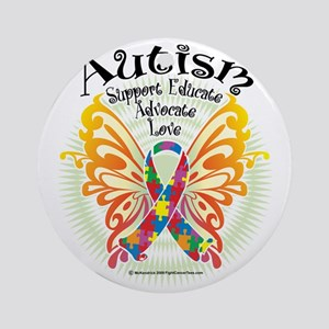 Autism-Butterfly-3 Round Ornament