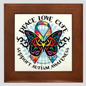 Autism-Butterfly-Tribal-2 Framed Tile