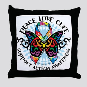 Autism-Butterfly-Tribal-2 Throw Pillow