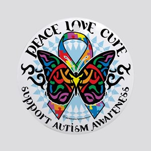 Autism-Butterfly-Tribal-2 Round Ornament