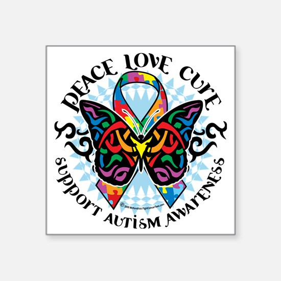 "Autism-Butterfly-Tribal-2 Square Sticker 3"" x 3"""