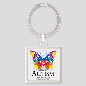 Autism-Butterfly Square Keychain