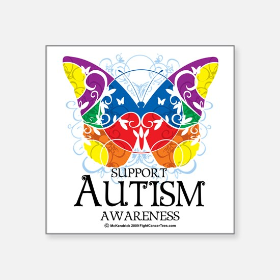 "Autism-Butterfly Square Sticker 3"" x 3"""