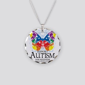 Autism-Butterfly Necklace Circle Charm
