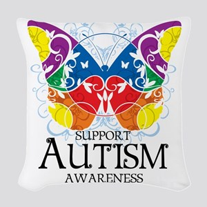 Autism-Butterfly Woven Throw Pillow